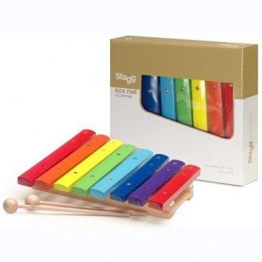 Percussion Xylophone avec 8 lames de différentes couleurs et deux mailloches en bois Eveil musical