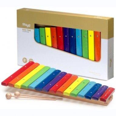 Percussion Xylophone avec 15 lames de différentes couleurs et deux mailloches en bois Eveil musical