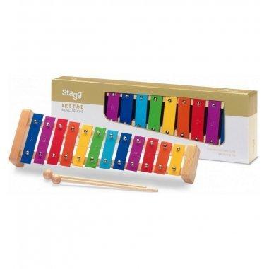 Percussion Xylophone avec 12 lames de différentes couleurs et deux mailloches en bois Eveil musical