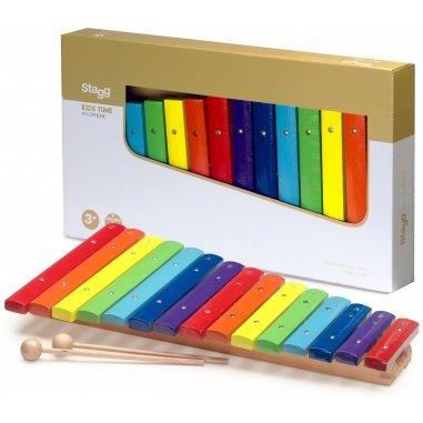 Percussion Métallophone avec 12 lames de différentes couleurs et deux mailloches Eveil musical