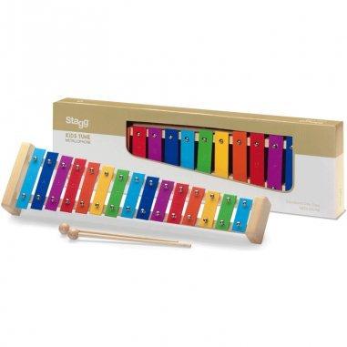Percussion Métallophone avec 15 lames de différentes couleurs et deux mailloches Eveil musical