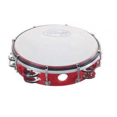 STAGG Tambourin accordable en plastique 8'' avec 2 rangées de cymbalettes