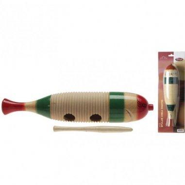 STAGG Petit güiro en bois en forme de poisson, avec mailloche